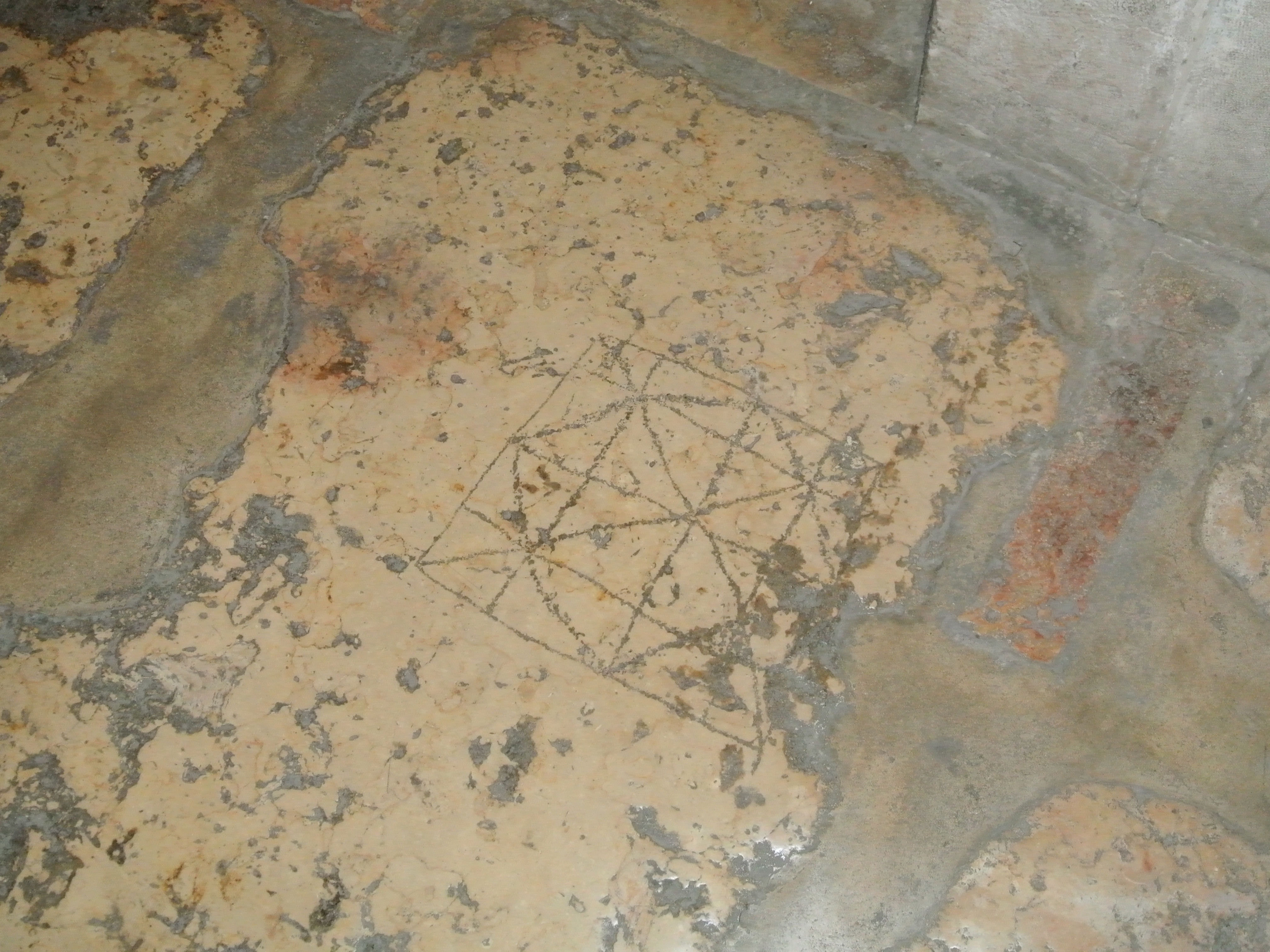 Alquerque in the Church of the Condemnation, Jerusalem, Israel. Carved pavement stones are from the Roman period, 2nd century CE, incorporated into the building of the church, built in 1903-1904, on the ruins of an older 13th century church. Photo: Katelyn Doran, July 6, 2012.