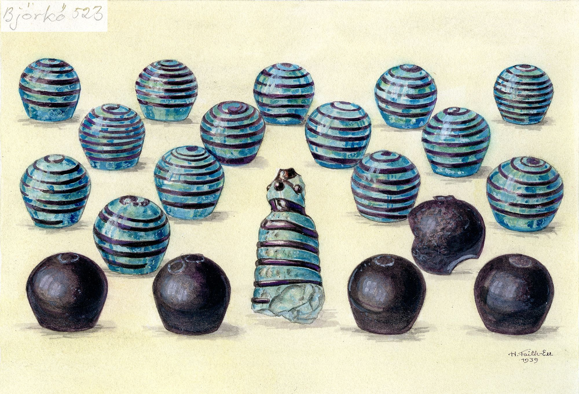A Drawing made in 1939, of the glass Hnefatafl pieces found in Björkö, Norr om Borg, Grav, Kammargrav, Sweden (Bj 523). The pieces and the drawing are kept in the Historiska Museum, 106813, in Stockholm, Sweden.