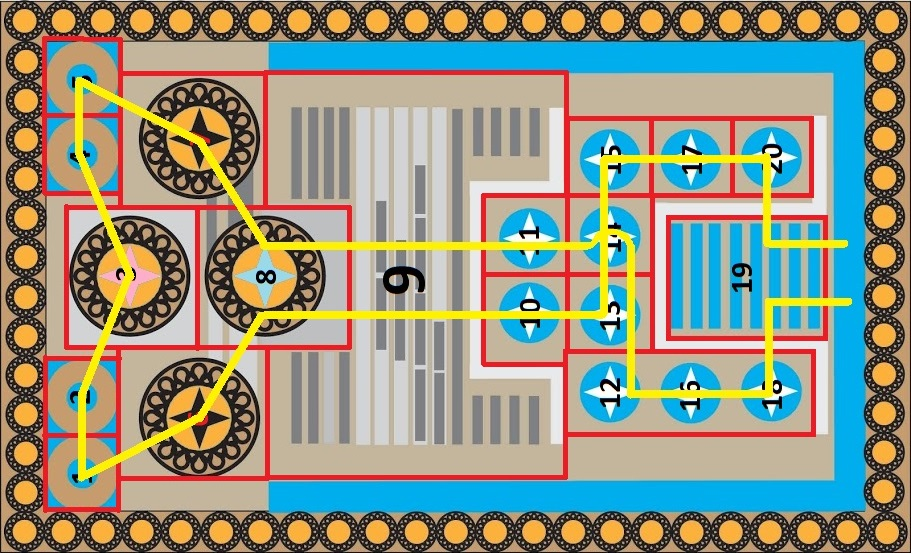 Knossos Game Board with Grid, Cell Numbers and Path