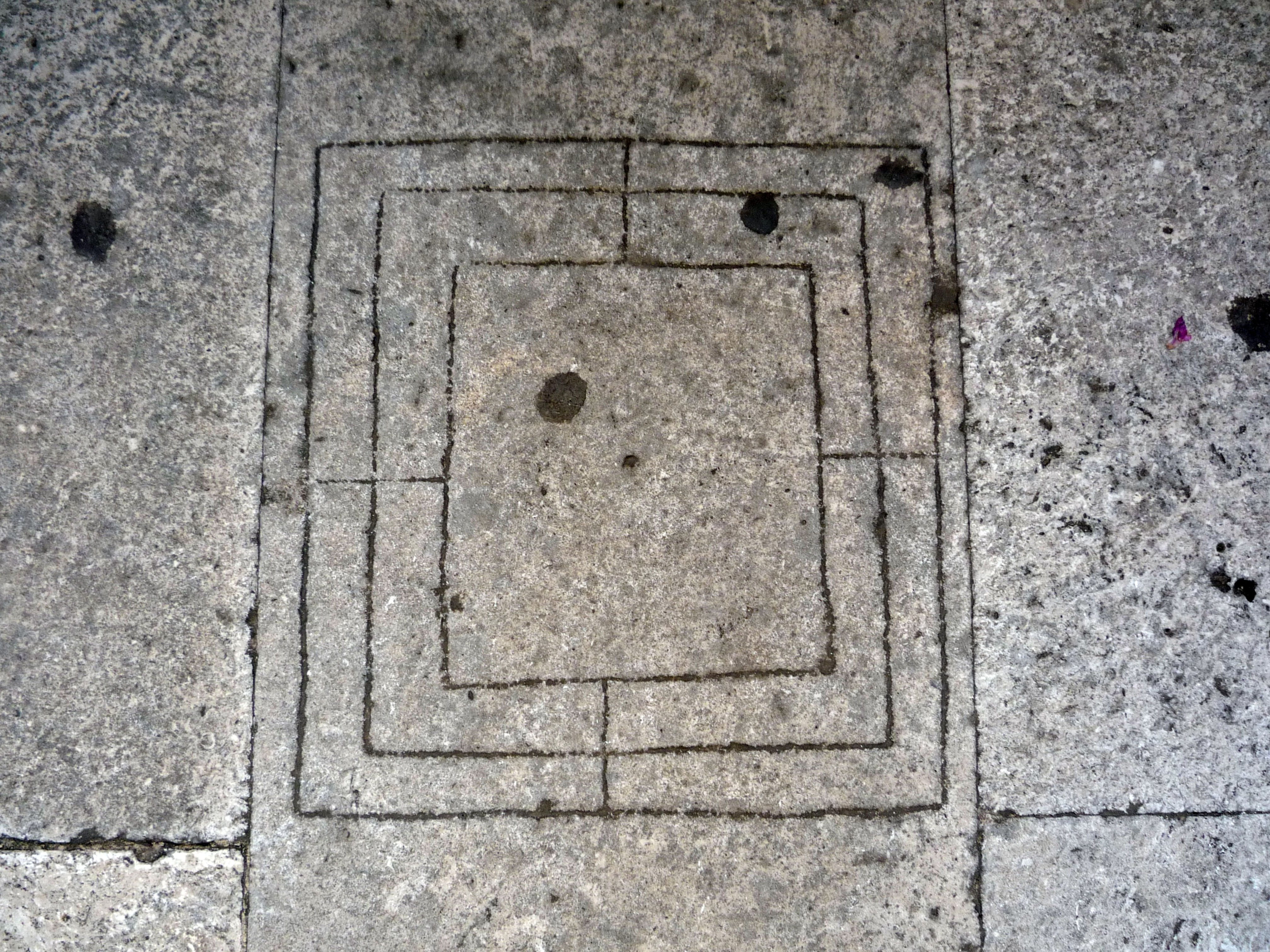 Nine Men's Morris, carved on the floor of the platform between the Bell Tower and the Dome of Diocletian's Mausoleum in Split, Croatia. Photo: June 29, 2009 by Helen Goodchild.