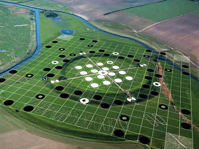 Overlay of Hnefatafl - Alea Evangelii Setup onto the Viking Trelleborg Fortress Aerial View Photo by Adam Bartley