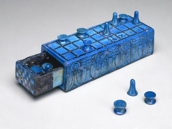 Faience Senet Gaming Board Inscribed for Amenhotep III from Thebes - Brooklyn Museum - 49.56a-b