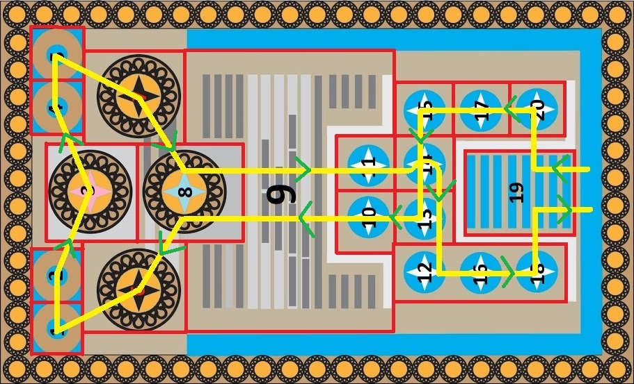 Knossos Game Board with Grid, Cell Numbers and Path of Green Arrows