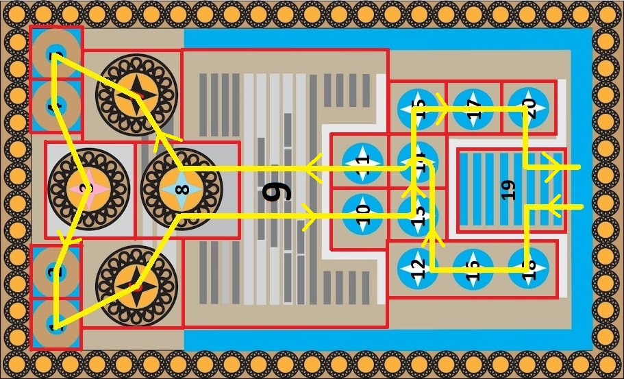 Knossos Game Board with Grid, Cell Numbers and Path of Yellow Arrows