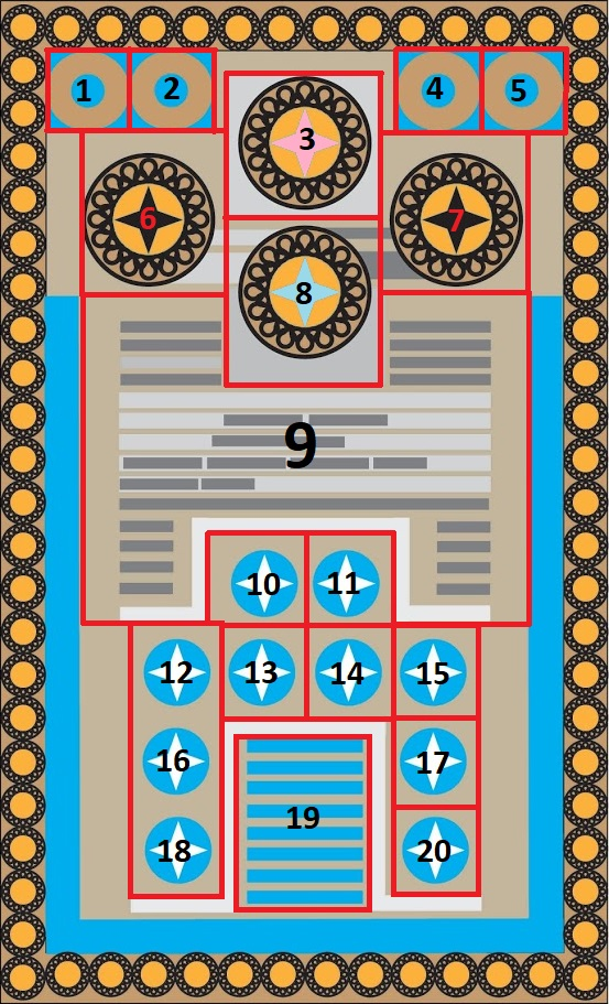 Knossos Game Board with Grid and Cell Numbers