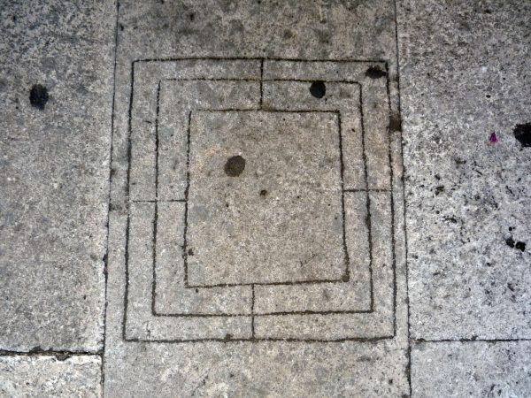 Nine Men's Morris - on the floor of the platform between the bell tower and the dome of Diocletian's mausoleum in Split, Croatia - Photo June 29, 2009 by Helen Goodchild