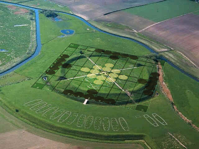 Overlay of Hnefatafl - Tawlbwrdd Setup onto the Viking Trelleborg Fortress Aerial View Photo by Adam Bartley