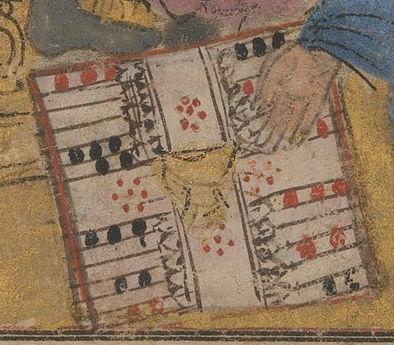 View of the setup of the Nard board on Buzurjmihr Explains the Game of Backgammon (Nard) to the Raja of Hind - Folio from a Shahnama (Book of Kings) manuscript circa 1300-1330 - Metropolitan Museum of Art, 34.24.2