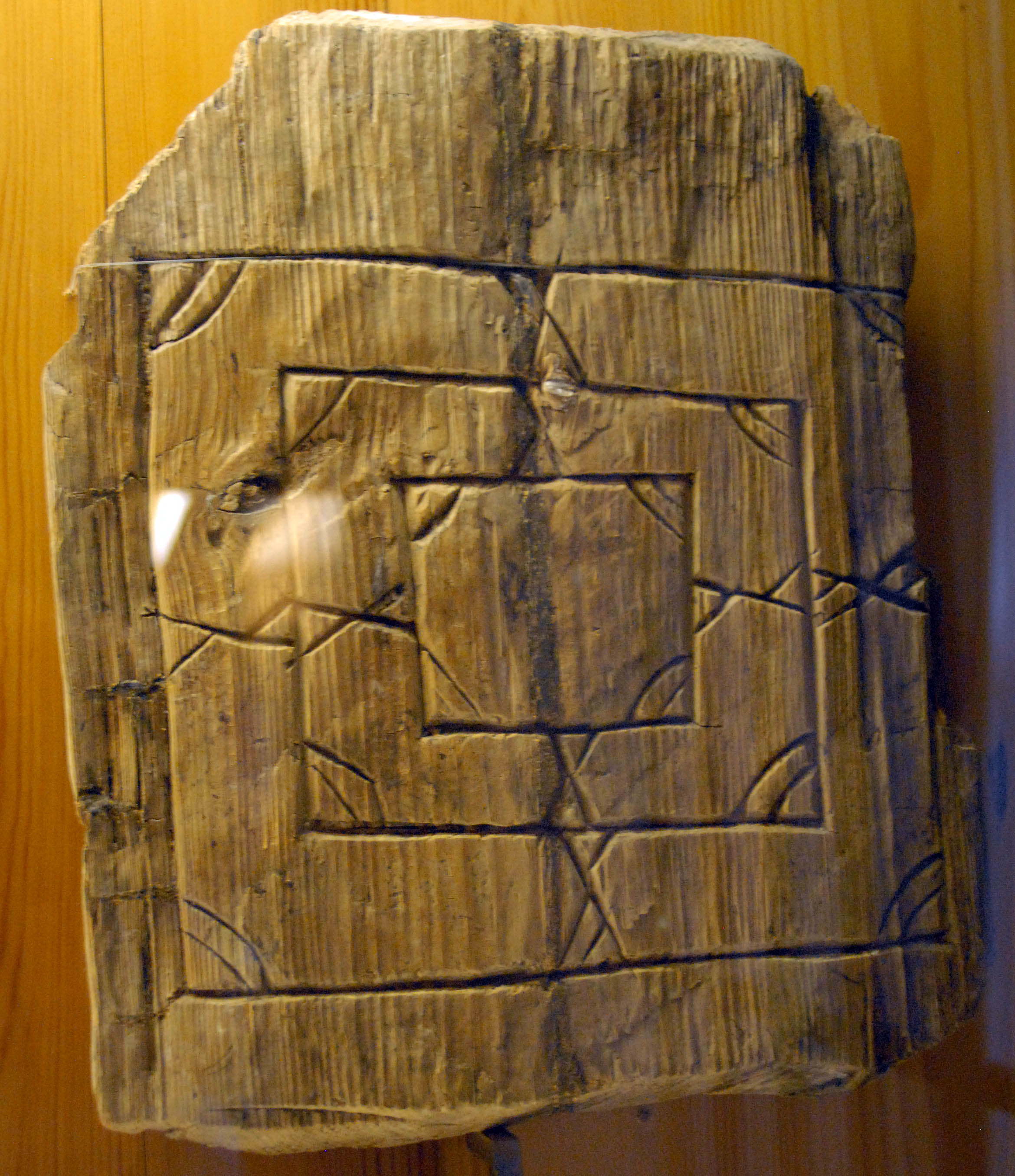 Wooden Nine Men's Morris from medieval Velikiy Novgorod, Russia. Novgorod State United Museum. Photo: Professor Michael Fuller, St. Louis Community College, 2006.